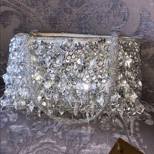 Silver sequin beaded cocktail purse clutch